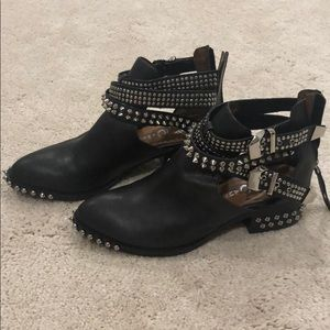 Jeffrey Campbell Everly booties black silver